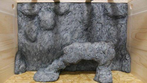 擬岩バックボード付き木製ケージ