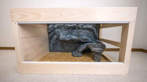 擬フトアゴ用木製ケージ(バックボード付)
